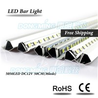 Lowest price 15pcs 12V V/U Shape Aluminium Super Bright Hard luces Bar light 5050 led strip bar 50cm, 36 led led hard strip
