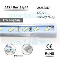LED luces strip 2835 smd DC 12V 72leds double row LED bar light 50cm  kitchen cupboard  with Aluminium U profile cold/warm white
