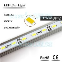 U/V Aluminum Profile DC 12V LED Bar Light 50cm 36leds led luces strip 5630 for kitchen closet cabinet jewelry showcase