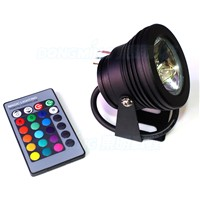 Black Cover LED Underwater pool light DC12V 10W RGB pool light IP68 waterproof +24key Remote Controller + 12V 10W power supply