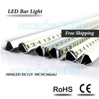 Aluminium U/V Profile 0.5M LED luces strip 5050 SMD 36Leds 12V LED Bar Light for kitchen cabinet closet Warm White/White