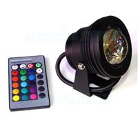 RGB LED Pool Lights Waterproof IP68  Black Case DC 12V 10W led Underwater lights+24 Key Remote Controller + 12v 10w power supply