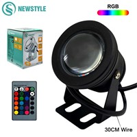 DC12V 10W RGB/RGBW LED Underwater Light IP68 Waterproof Swimming Pool Lights Changeable 16 Colors+24keys LED Controller