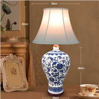 European Style 110V-220V Light Source Fabric Lampshade Ceramic Lampbody Bedroom Porcelain Table Lamp Living Room Wedding lights