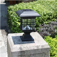 Retro LED Solar Panel lamp Pillar Wall Lamp Outdoor Solar Lights waterproof  Sconce Home Luminarias Garden Decoration Lighting