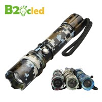 Military camouflage LED flashlight 3 speed CREE Q5 3000Lumens cree led Torch Zoomable cree LED  Torch light For 3xAAA or 1x18650