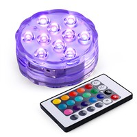 2017 New Wireless Remote Control Led Multi Color Spotlight Underwater Multi Color Submersible 10 LED Light Waterproof Party Lamp