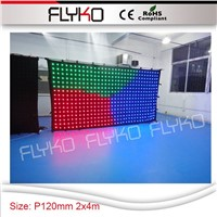 P120mm disco bar stage effect 2x4m led cloth portable flexible video screen display video curtain