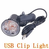 Super Bright 3 LED Port Clip On Spot USB Light Lamp For Laptop PC Notebook Black #S018Y# High Quality