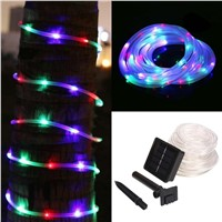 7M 50 LED Solar Powered Waterproof Tube Flexible Light Fairy String Rope Strips for Christmas holidays outdoor