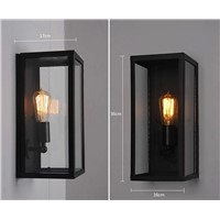 Wall Sconce Clear Class cover Outdoor Wall Light Metal Frame Glass Wall lamp