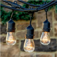 48Ft 14.8M Christmas String Light with 24pcs S14 Clear Bulbs Patio Cafe Backyard Umbrella Festoon Garden String Rope Light