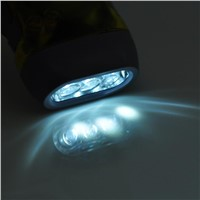 Hand Cranked 30lm 3-LED White Light Dynamo Flashlight LED Lamp Portable Light with Strap