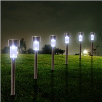 12pcs/lot Stainless Steel Solar Lawn Light Garden Solar Power Light Outdoor Solar Lamp For Outdoor Landscape Yard Deck Pathway