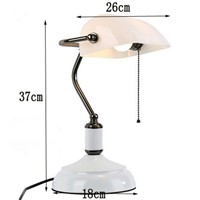 High quality vintage Table Lamp with pull chain switch,white glass lampshade Iron bracket Study Room Bedroom Bedside desk Lamp