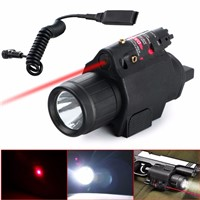 2 in 1 Tactical Insight Red Laser Flashlight CREE Q5 LED 300 Lumen Sight Combo For Pistol Gun 3 Modes For 2X3V CR123A Battery