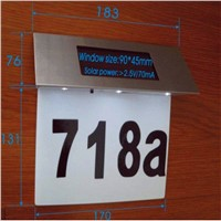New Arrival High Quality Stainless Steel Solar 4LED House Number Illuminated Door Wall Plaque Light lamp YD208