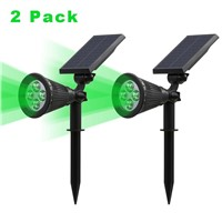 T-SUNRISE 2 Pack Green Light Solar Lights Spotlight Outdoor Landscape Lighting Wall Light