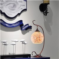 Hot sale E27 LED Creative personality Mediterranean Sea iron tabale lamp warm and stylish interior glass plate table lamps