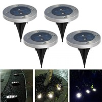 Pack of 4 Solar Ground Light for Garden Landscape Lighting, Pathway, Stairway