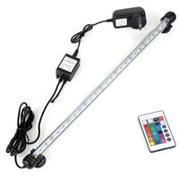 UK AU Plug Aquarium Fish Tank Submersible Light Bulbs Tubes 5050 SMD RGB LED Lamp + Remote
