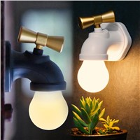 New Creative USB Rechargeable Intelligent Voice Control LED Antique Faucet Tap Night Light Home Lamp 2 Modes