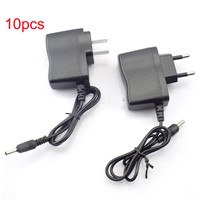 10pcs LED Flashlight AC home Wall Charger 3.5mm Power adapter for 18650 Rechargeable Battery Torch Flash light Batteries EU US