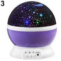 Rotating Projector Starry Night Lamp 4 LED Light Star Sky Romantic Projection