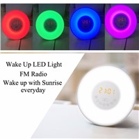 New 3 Plug Colorful Wake Up Digital LED Light Alarm Clock With Sunrise Simulation FM Radio Lamp For Home Bedroom Decoration