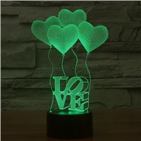 Creative 3D Illusion Lamp LED Night Lights 3D Love Heart Acrylic Discoloration Colorful Atmosphere Lamp Novelty Lighting