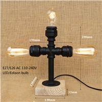 Retro Metal desk lamp Antique Iron Industrial Water Pipe table lamp wood base with switch E26/27 for bedside bedroom office bar