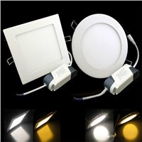 3W/4W/6W LED Recessed Ceiling Panel Down Light Bulb Lamp Square Round AC85-265V LED Panel Lights