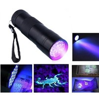 1pc Mini Aluminum Portable UV Flashlight Violet Light 9 LED UV Torch Light Lamp Flashlight Outdoor Camping Useful Tools