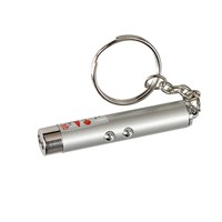 Hiking Camping Mini 2in1 Laser Torch Flashlight Portable LED Light Torch Keychain Silver   CLH
