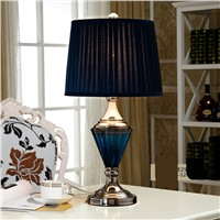 High-end Retro Mediterranean Sea Luxurious Blue Crystal Glass Led E27 Table Lamp For Living Room Bedroom Wedding Deco H55cm 1230