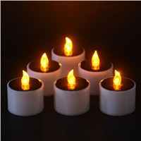 Solar Power LED Candle Light Romantic Candles-flameless  Flicker Lamp  6 Pieces/set Outdoor candlelight dinner Solar candle lamp