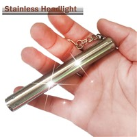 Super bright Mini Portable Stainless Steel Keychain LED Flashlight Torch light , For AAA Battery