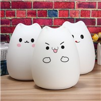 Rechargeable Cat USB LED Night Light Lamp For Children Silicone Animal 7 Color Changing Night Lamps For Bedroom With Remote
