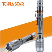 TOPIA STAR Tactical Flashlight Torch Zoomable Aluminum Alloy 5 Light Modes Self Defense Light Torch