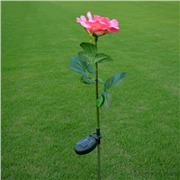 LumiParty Outdoor Solar Powered Pink Rose Flower Lights Solar Power Garden Decorative Stake Lamp LED Rose Lights for Home Garden
