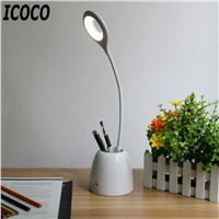 ICOCO Eye Protection Desk Lamp White Students Learning Office Creative Light Adjustable Reading Lamp with Pen Container