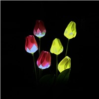 Lumiparty Solar Tulip Flower Lights Solar Powered Garden Outdoor Decorative Landscape LED Tulip Lamps Path Lights for Garden