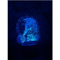 New Eagle and Motorcycle 3D LED Night Light USB 7 Color Change Decoration Househould lamp Child Kids Holidays & Birthdays Gifts