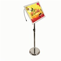 A3 Adjustable Floorstanding Stainless Steel Pole with Ailluminated Acrylic Picture Frames, Floor Led Light Boxes