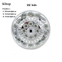 Kitop E27 22LEDs Solar Panel LED Bulb Dimmable Lamp with Remote controller AC / DC Power Switch Portable lights for Camping