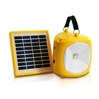 N710 Solar Powered 4-Mode Indoor & Outdoor Handheld LED Emergency Light Battery Charger With FM Radio (Yellow)