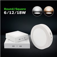 Surface Mounted Led Panel Light 110v 220v 6w 12w 18w Ceiling Lights With Driver Round or Suqare Indoor Flat Downlight Lamp