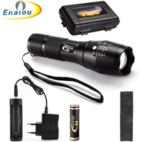 3800 lumens Flashlight CREE T6 LED Zoomable Zoom Flashlight Tactical Torch + 18650 battery & Charger Gift Boxes