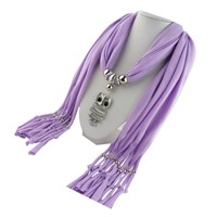 Jewelry Tassel Owl Pendant Women Shawl Scarf (Light purple)