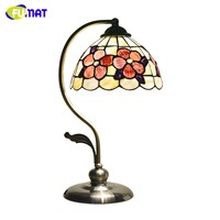 FUMAT Table Lamps Art Deco Natural Shell Table Lamp for Bedroom Bedside Light Metal Leg Desk Lamp 8 Inch Peony Table Lamp LED